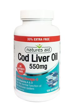 Natures Aid Cod Liver Oil 550mg with Vitamins  - Click to view a larger image