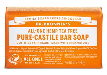 Dr Bronner's Tea Tree Pure Castile Soap Bar  - Click to view a larger image