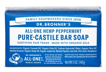 Dr Bronner's Peppermint Pure Castile Soap Bar  - Click to view a larger image