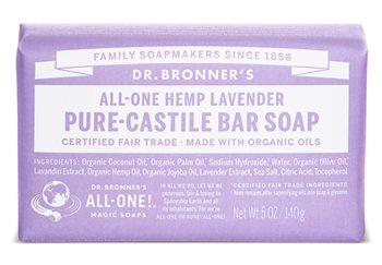 Dr Bronner's Lavender Pure Castile Soap Bar  - Click to view a larger image