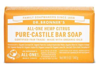 Dr Bronner's Citrus Orange Pure Castile Soap Bar  - Click to view a larger image