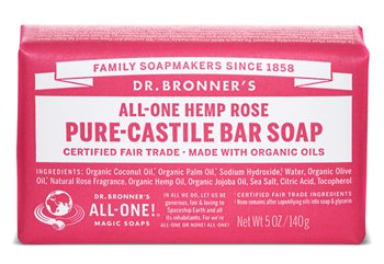 Dr Bronner's Rose Pure Castile Soap Bar  - Click to view a larger image
