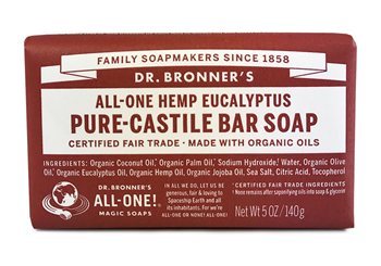 Dr Bronner's Eucalyptus Pure Castile Soap Bar  - Click to view a larger image