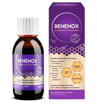 Natures Aid Benenox Overnight Recharge Blackcurrant Flavour  - Click to view a larger image