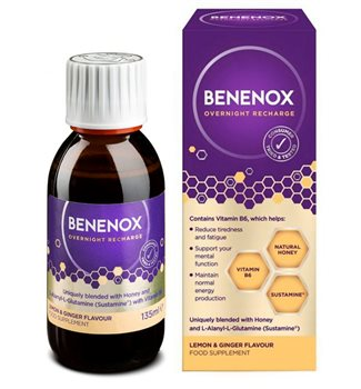 Natures Aid Benenox Overnight Recharge Lemon & Ginger Flavour  - Click to view a larger image