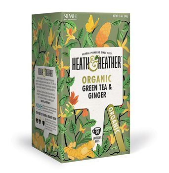 Heath & Heather Organic Green Tea & Ginger  - Click to view a larger image